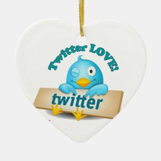 Tweetmas Twitter Love Heart Christmas Hoilday Ceramic Ornament