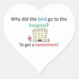 Tweetment joke heart sticker