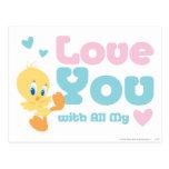 """Tweety """"amor usted con todo mi corazón """" postal"""