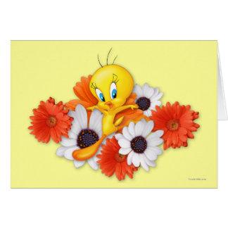 Tweety con las margaritas tarjeta de felicitación
