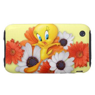 Tweety con las margaritas tough iPhone 3 carcasa