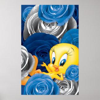 Tweety con los rosas póster