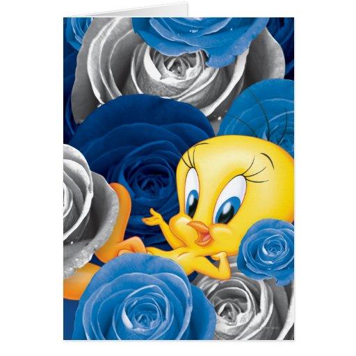 Tweety con los rosas tarjeta de felicitación