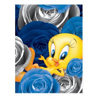 Tweety con los rosas postal