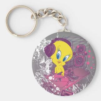 Tweety Djing Basic Round Button Keychain