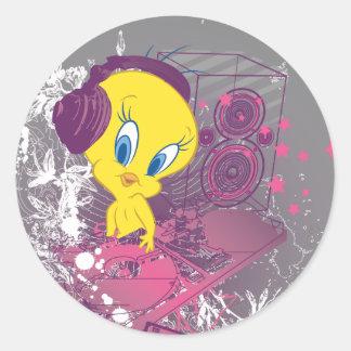 Tweety Djing Classic Round Sticker