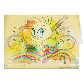 Tweety en arco iris tarjeta de felicitación