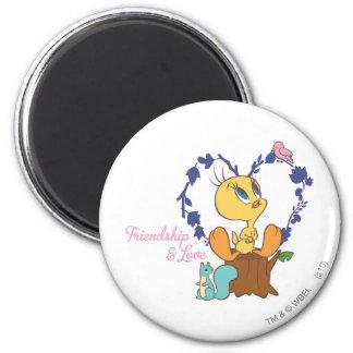 """Tweety """"Friendship And Love"""" 2 Inch Round Magnet"""