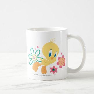 Tweety Green Line Flower Classic White Coffee Mug