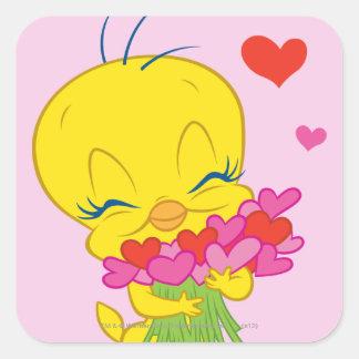 Tweety Hearts Square Sticker