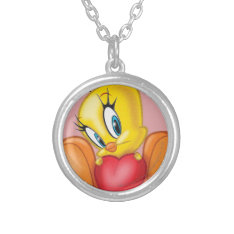 Tweety Holding Heart Silver Plated Necklace at Zazzle
