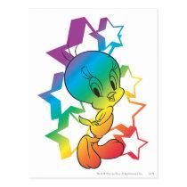 Tweety Rainbow Stars Postcard