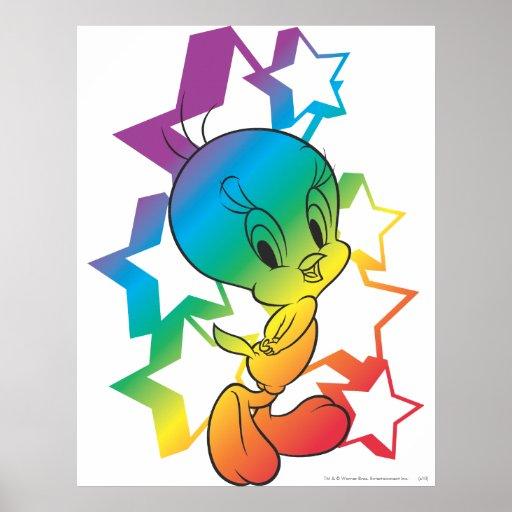 Tweety Rainbow Stars Posters