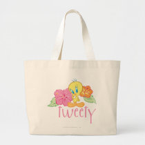 Tweety Tropical Flowers Large Tote Bag