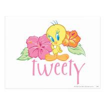 Tweety Tropical Flowers Postcard