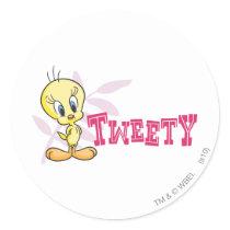 """Tweety """"Tweety"""" Pink Classic Round Sticker"""