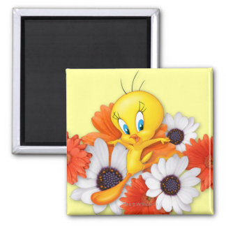 Tweety With Daisies 2 Inch Square Magnet