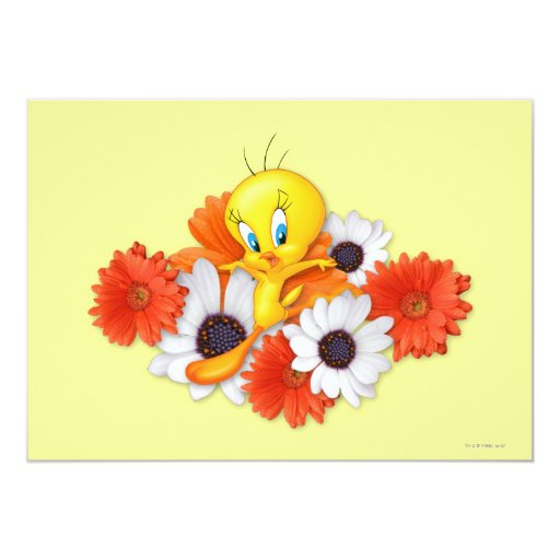 Tweety With Daisies 5x7 Paper Invitation Card