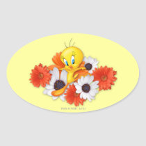 Tweety With Daisies Oval Sticker
