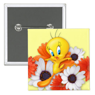 Tweety With Daisies Pinback Button