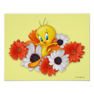 Tweety With Daisies Poster