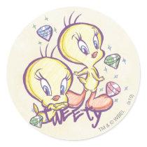 Tweety with Gems Classic Round Sticker