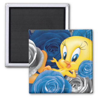 Tweety With Roses 2 Inch Square Magnet
