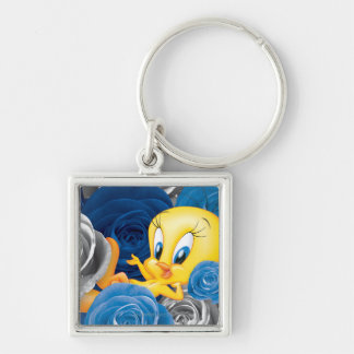 Tweety With Roses Silver-Colored Square Keychain