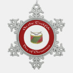Twelfth Day of Christmas Snowflake Ornament w/Drum
