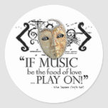 Twelfth Night Music Quote Classic Round Sticker
