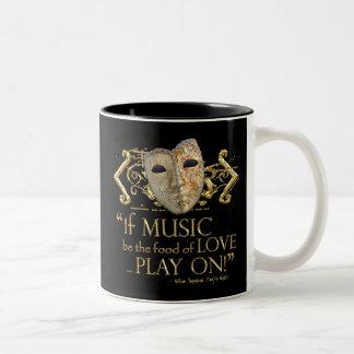 Twelfth Night Music Quote (Gold Version) Two-Tone Coffee Mug
