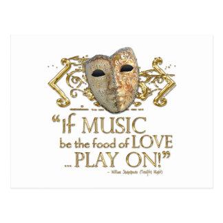 Twelfth Night Music Quote (Gold Version) Postcard