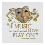 Twelfth Night Music Quote (Gold Version) Poster