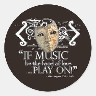Twelfth Night Music Quote Round Sticker