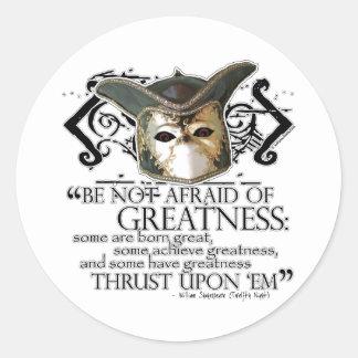 Twelfth Night Quote Round Stickers