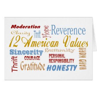 Twelve Amerfican Values Card