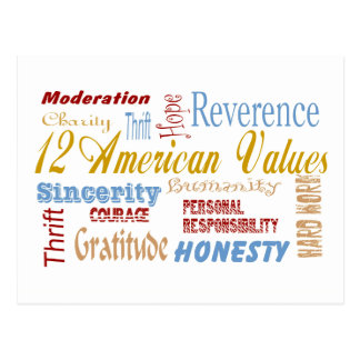 Twelve Amerfican Values Postcard