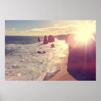 Twelve Apostles Sun Flare Sea Victoria Australia Poster