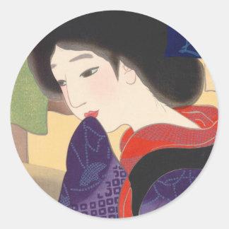 Twelve Aspects of Fine Women, Noren Terukata Ikeda Classic Round Sticker