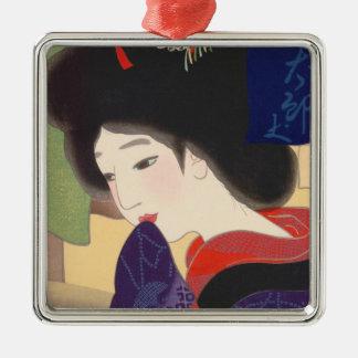 Twelve Aspects of Fine Women, Noren Terukata Ikeda Square Metal Christmas Ornament