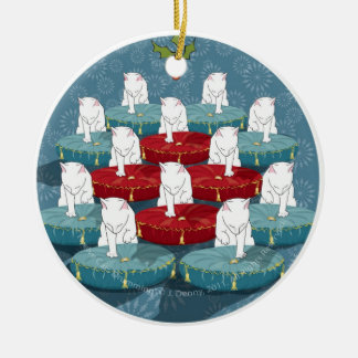 Twelve Cats Drumming... Ceramic Ornament