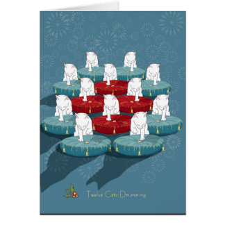 Twelve Cats Drumming... Holiday Card