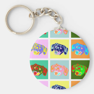 Twelve Colorful Dachshunds Basic Round Button Keychain
