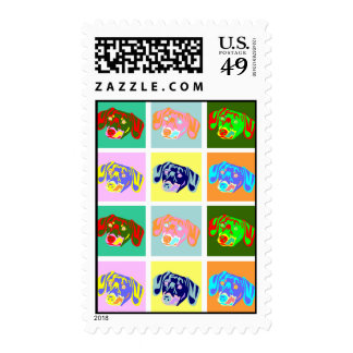 Twelve Colorful Dachshunds Postage Stamp