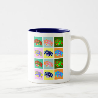Twelve Colorful Dachshunds Two-Tone Coffee Mug