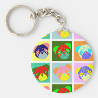 Twelve Colorful Pug Dogs Basic Round Button Keychain