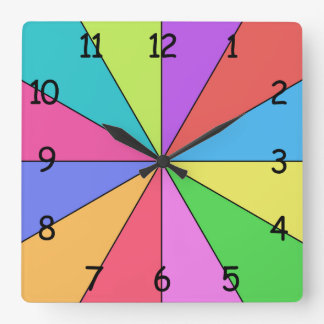 Twelve Colors of Bright Square Wall Clock