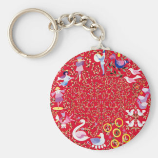 Twelve days of Christmas Basic Round Button Keychain
