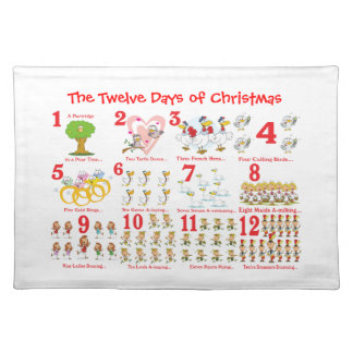 Twelve Days of Christmas Cloth Placemat