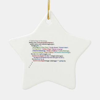 Twelve Days of Christmas in Java Double-Sided Star Ceramic Christmas Ornament